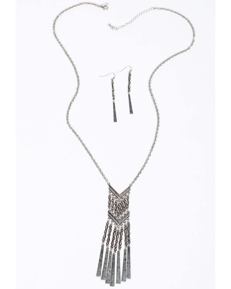 Shyanne Women's Isla Jane Chevron Chain Fringe Necklace, Silver, hi-res