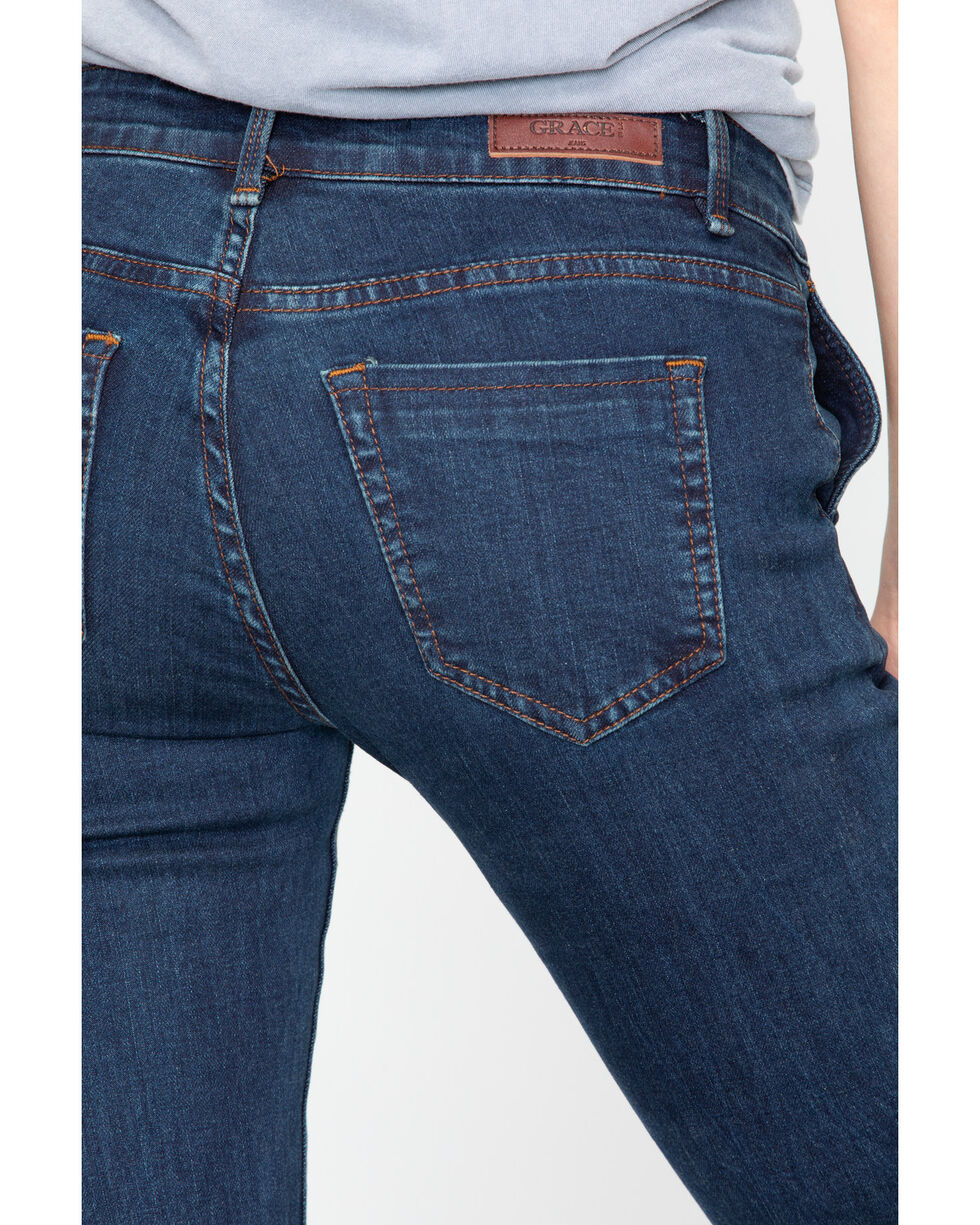 Grace In LA Women's Easy Fit Trouser Jeans, Dark Blue, hi-res