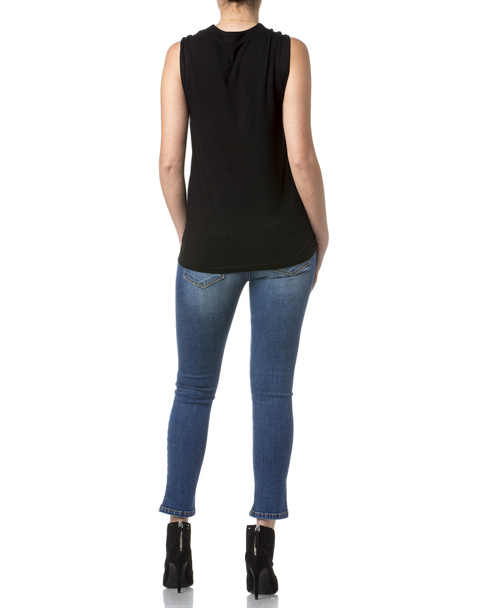 Miss Me Women's Lace-Up Knitted Sleeveless Shirt, Black, hi-res