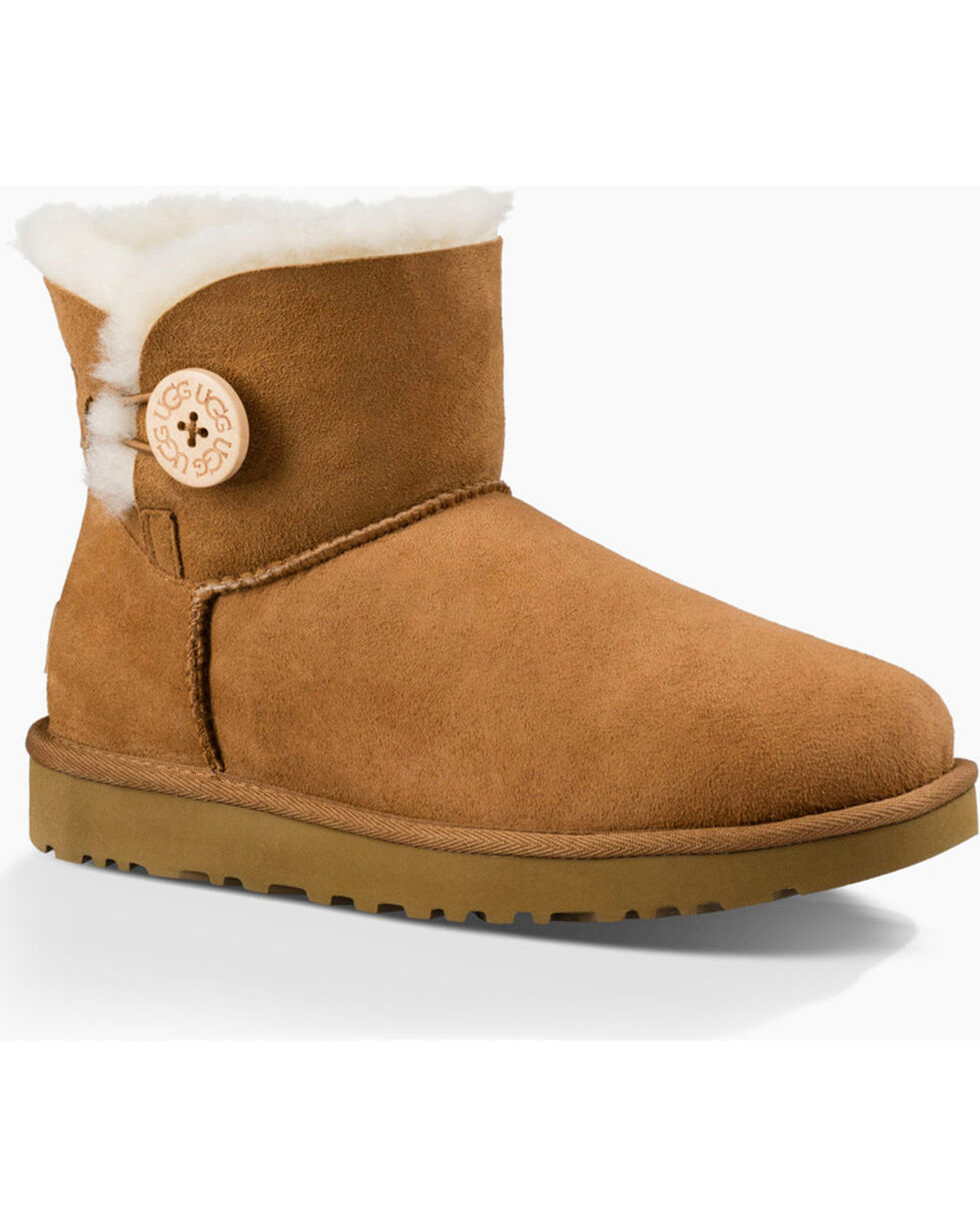 UGG Women's Button Shortie Boots, Chestnut, hi-res