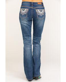Shyanne Women's Medium Wash Medallion Bling Bootcut Jeans, Blue, hi-res