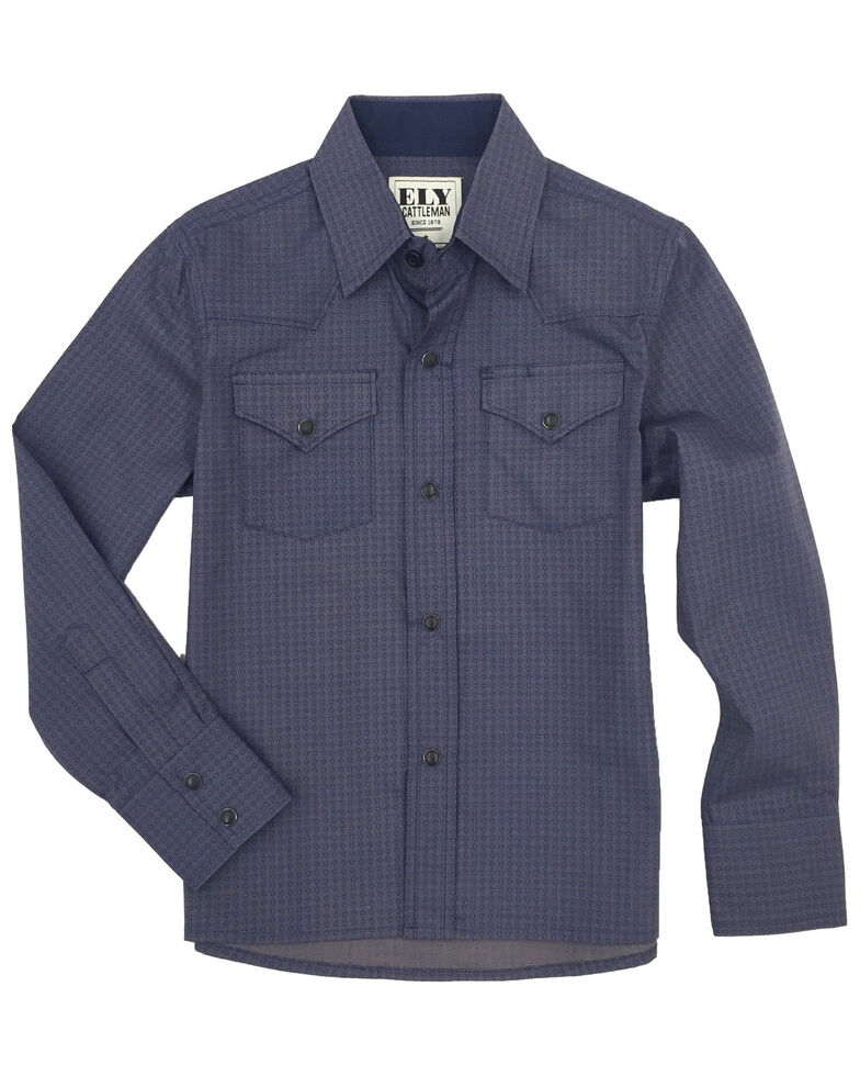 Ely Cattleman Boys' Navy Geo Print Long Sleeve Western Shirt , Navy, hi-res