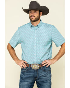 Cody James Core Men's Rodeo Clown Geo Print Short Sleeve Western Shirt , Blue, hi-res