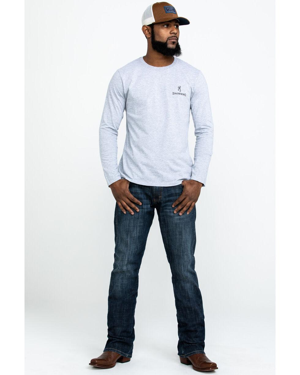 Browning Men's Distress Buckmark Logo Graphic T-Shirt , Grey, hi-res