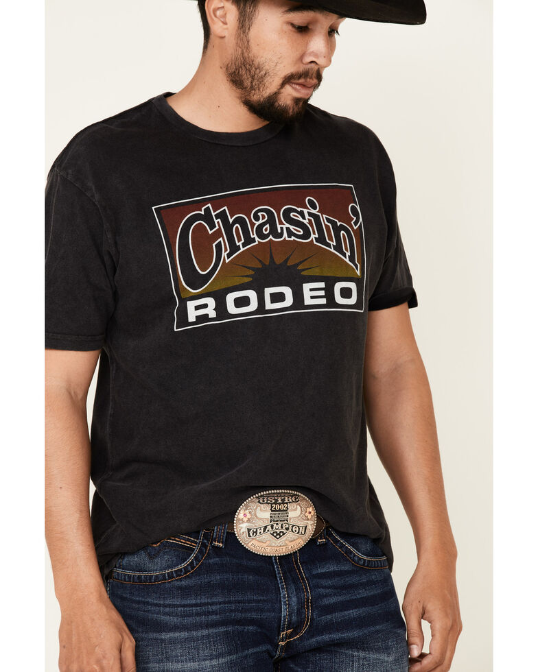 Cowboy Up Men's Black Chasin Rodeo Graphic T-Shirt , Black, hi-res