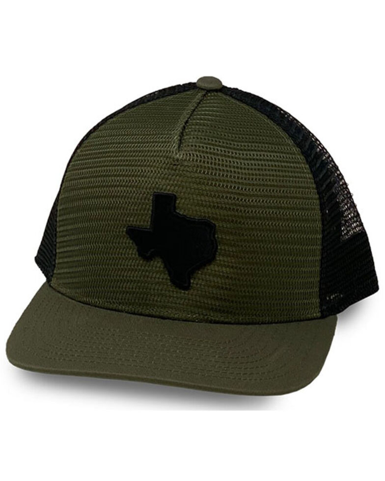 Oil Field Hats Men's Loden & Black Texas State Patch Mesh Ball Cap , Olive, hi-res