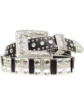 Blazin Roxx Croc Square Cross Belt, Black, hi-res