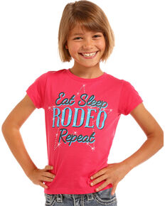 e1a08087 Rock & Roll Cowgirl Girls Pink Eat Sleep Rodeo Tee , Pink, hi-res