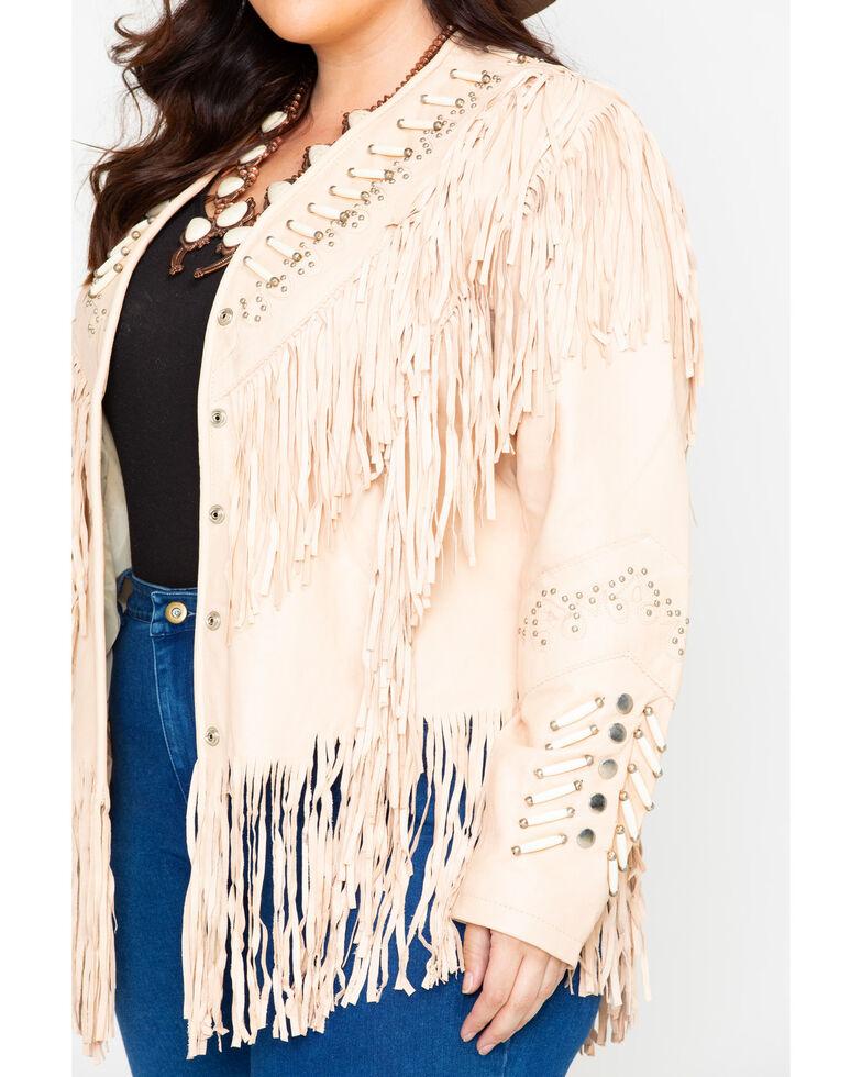 Liberty Wear Studded Leather Fringe Jacket - Plus, Cream, hi-res