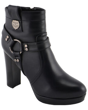 Milwaukee Leather Women's Block Heel Harness Ankle Boots - Medium Toe, Black, hi-res