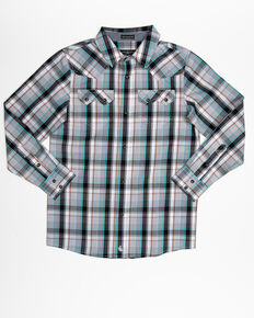 Cody James Boys' Silver Bullet Plaid Long Sleeve Western Shirt , Silver, hi-res
