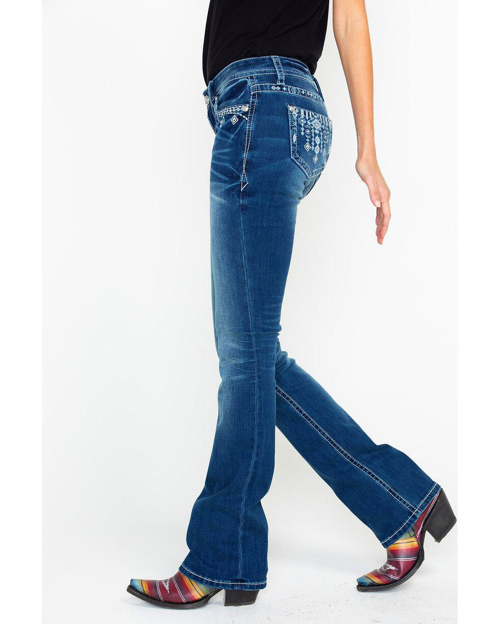 Grace In LA Women's Aztec Low Rise Boot Cut Jeans , Blue, hi-res