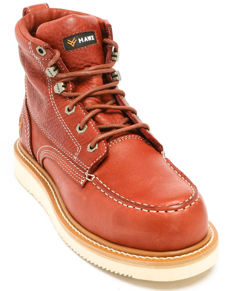 Hawx Men's Grade Moc Wedge Work Boots - Composite Toe, Red, hi-res