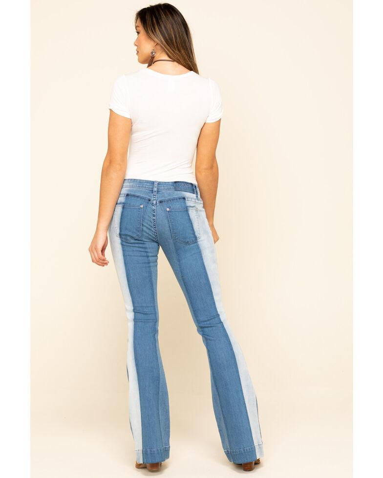 Grace in LA Women's Medium Wash Thick Stripe Flare Jeans , Blue, hi-res