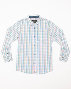 Cody James Boys' Galena Small Plaid One Pocket Long Sleeve Western Shirt , Blue, hi-res