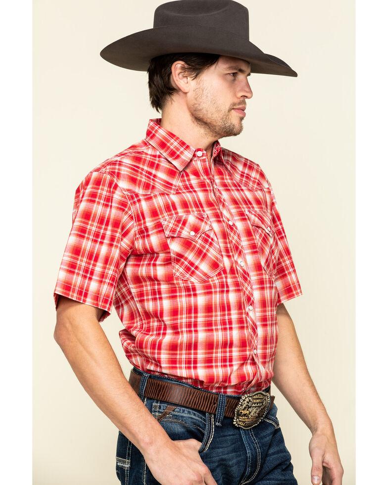 Wrangler 20X Men's Advanced Comfort Red Plaid Short Sleeve Western Shirt , Red, hi-res