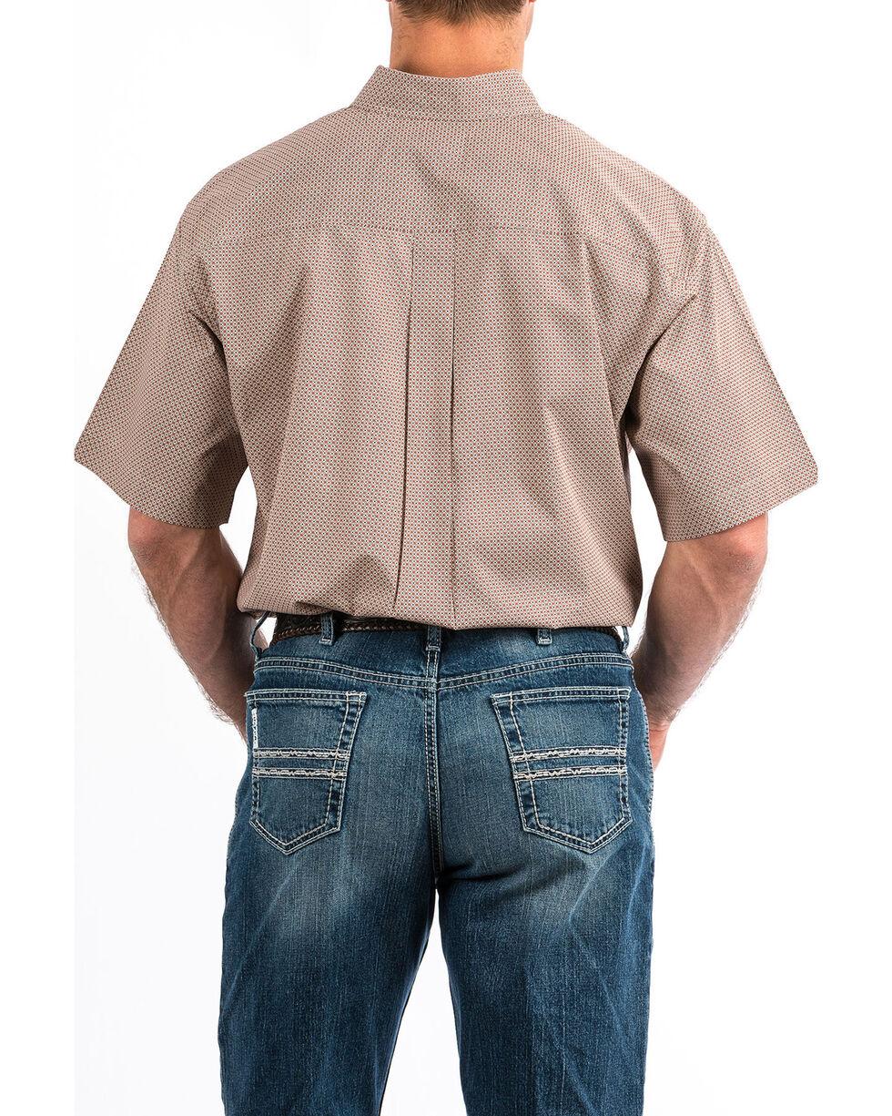 Cinch Men's Grey Geo Print Button Short Sleeve Western Shirt - Big , Heather Grey, hi-res