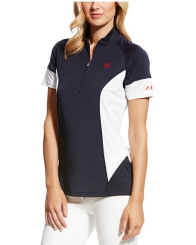 Ariat Women's Cambria Team Jersey 1/4 Zip Short Sleeve Baselayer , Multi, hi-res