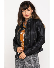 Free People Women's Black New Dawn Vegan Leather Jacket, Black, hi-res