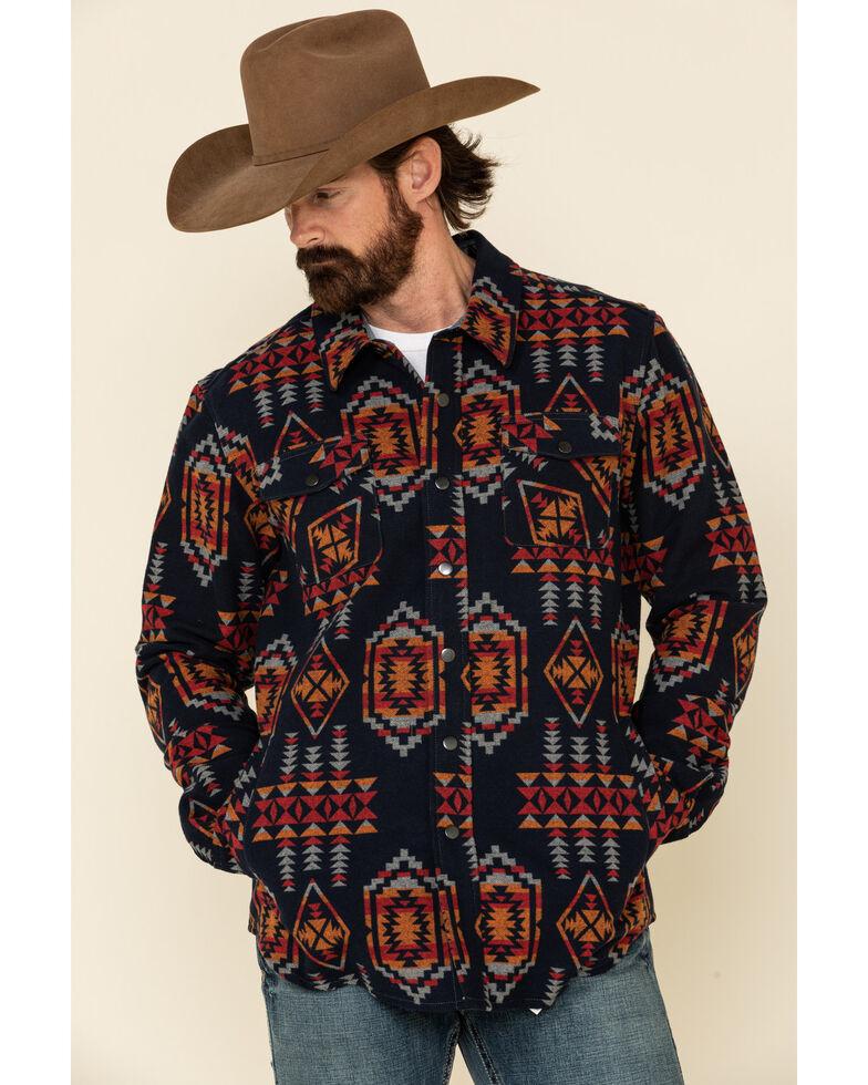 Rock & Roll Denim Men's Red Aztec Print Shirt Jacket , Red, hi-res