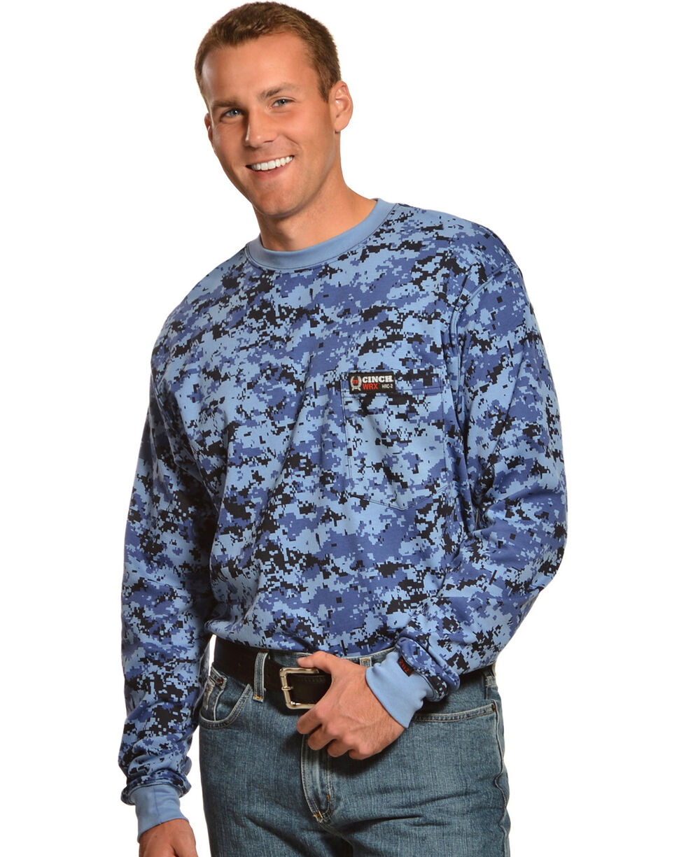 Cinch WRX Flame-Resistant Long Sleeve Camo T-Shirt, Blue, hi-res