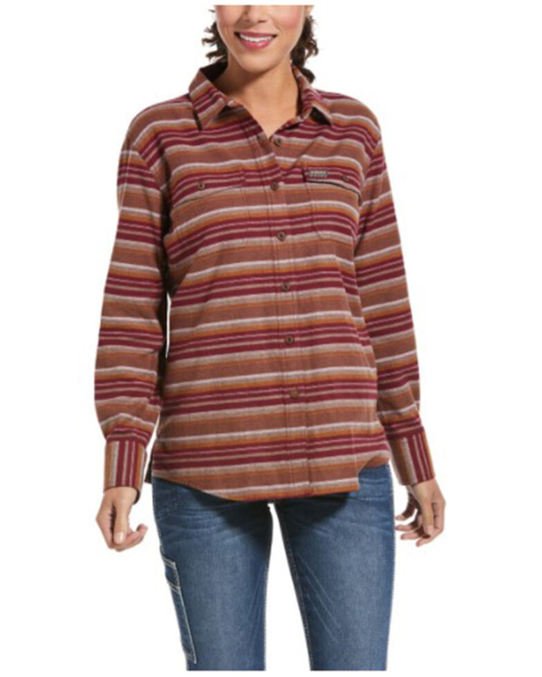 Ariat Women's Cabernet Stripe Rebar Flannel Durastretch Long Sleeve Work Shirt, Wine, hi-res