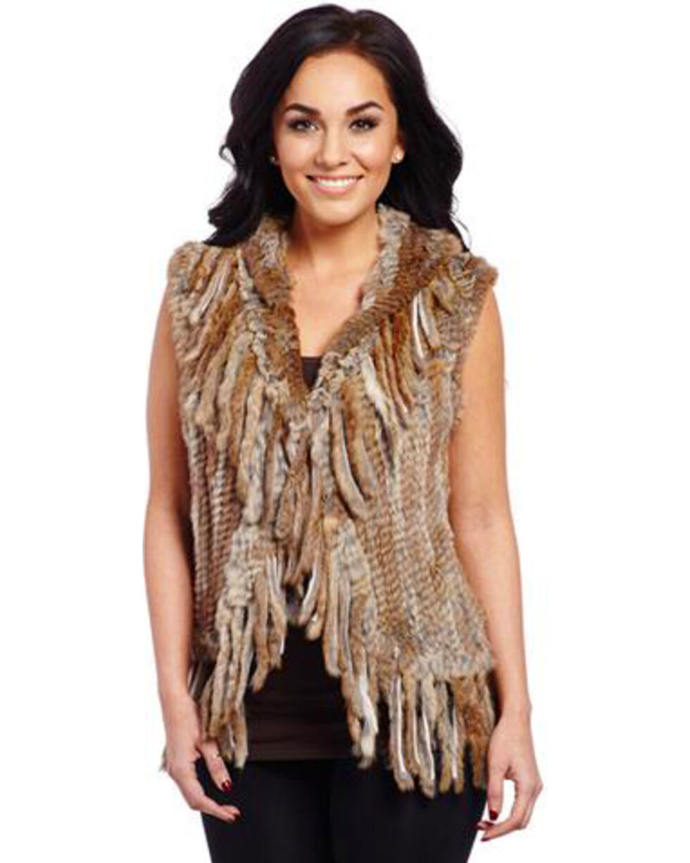 Cripple Creek Women's Faux Rabbit Fur Vest, Tan, hi-res