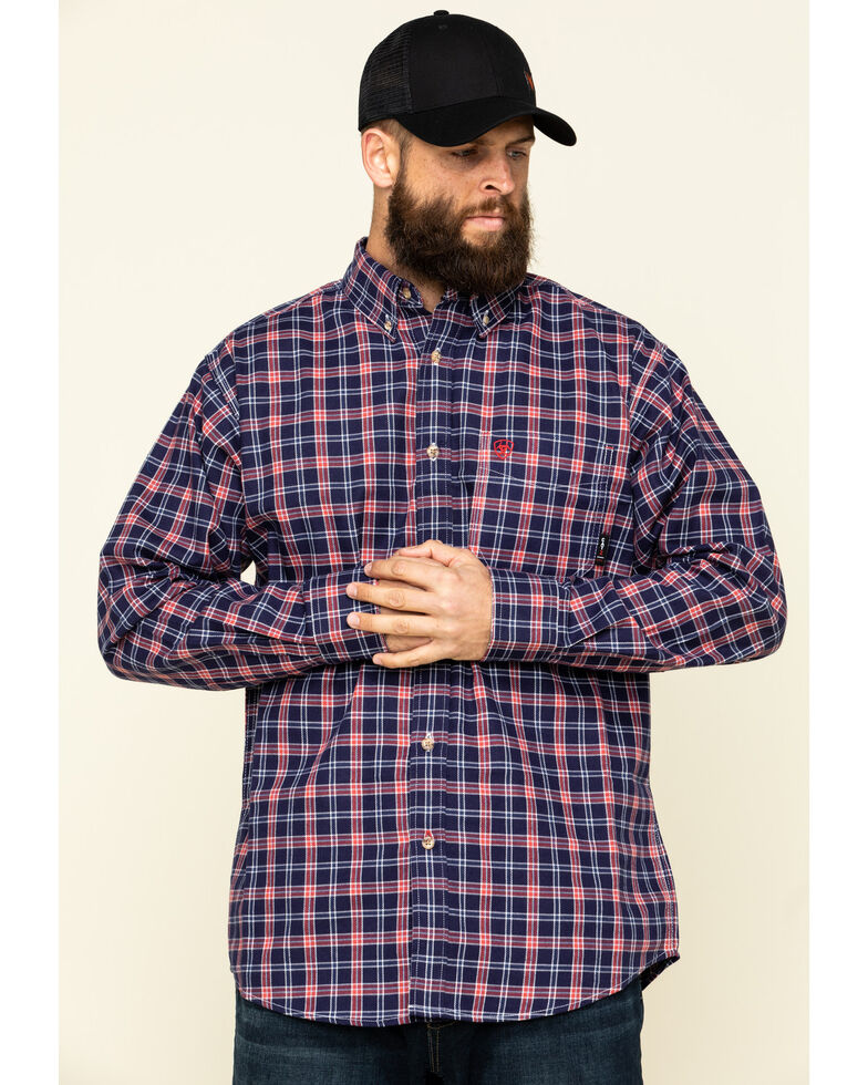 Ariat Men's FR Ferguson Small Plaid Long Sleeve Work Shirt - Tall , Blue, hi-res