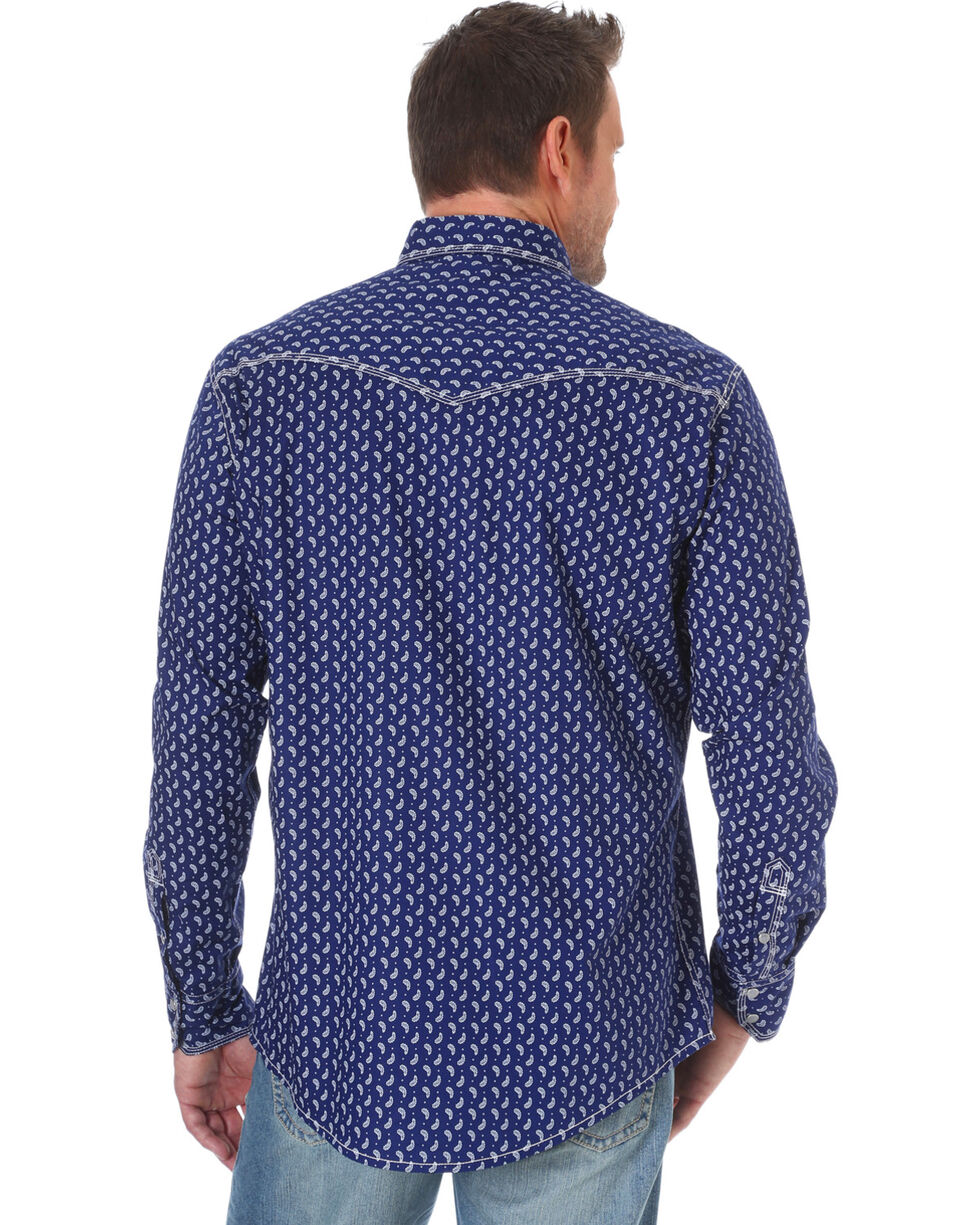 Wrangler 20X Men's Navy Competition Advanced Comfort Print Shirt , Navy, hi-res