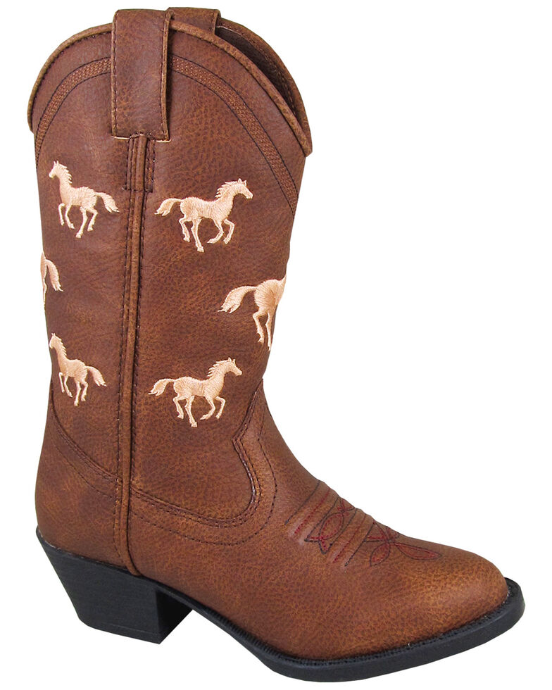 Smoky Mountain Girls' Rustler Western Boots - Round Toe, Brown, hi-res