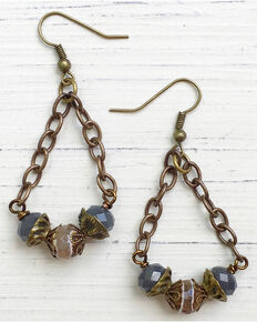 InspireDesigns Women's Bronze Beaded Pendulum Earrings , Bronze, hi-res