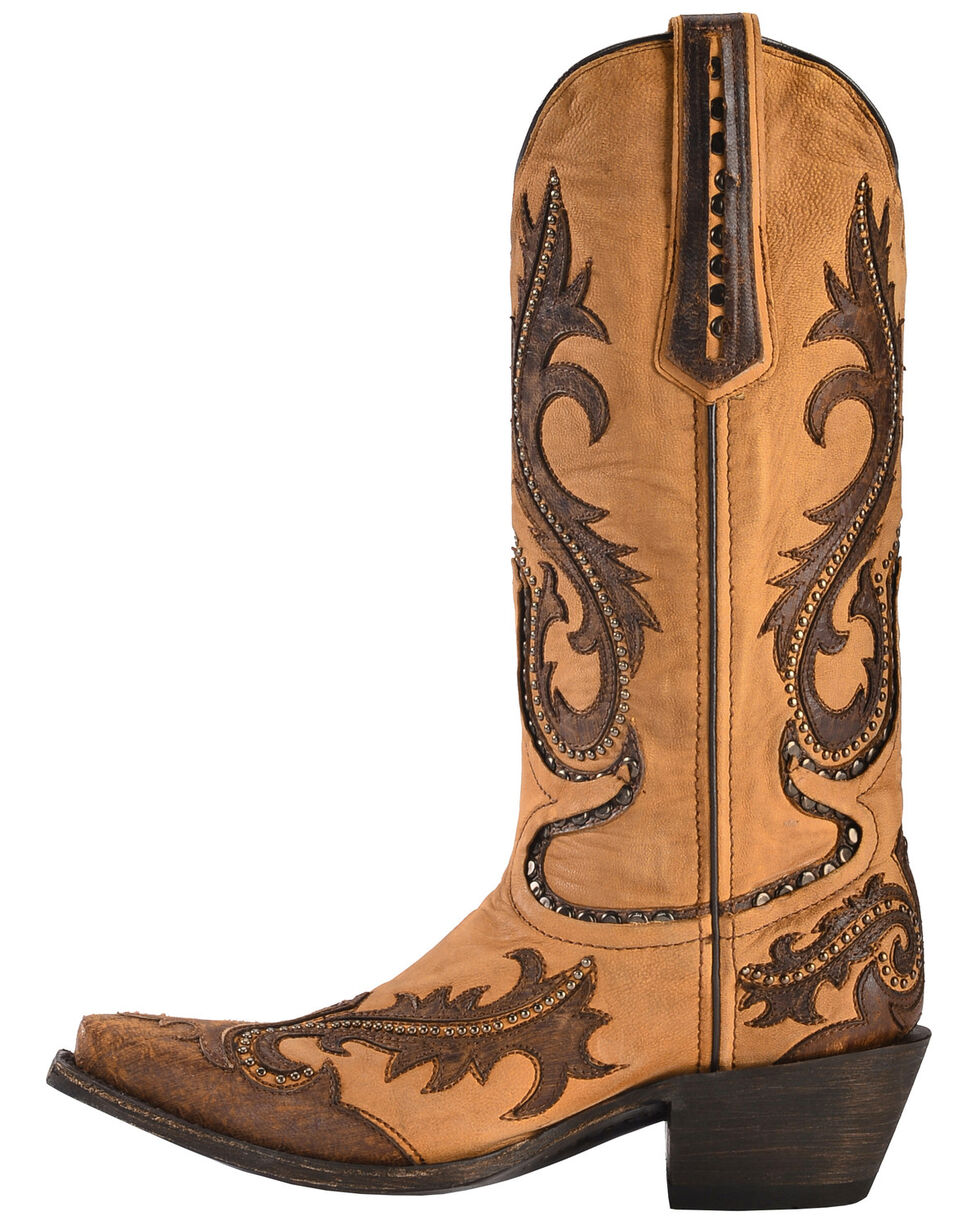 Corral Women's Studded Overlay Western Boots, Brown, hi-res