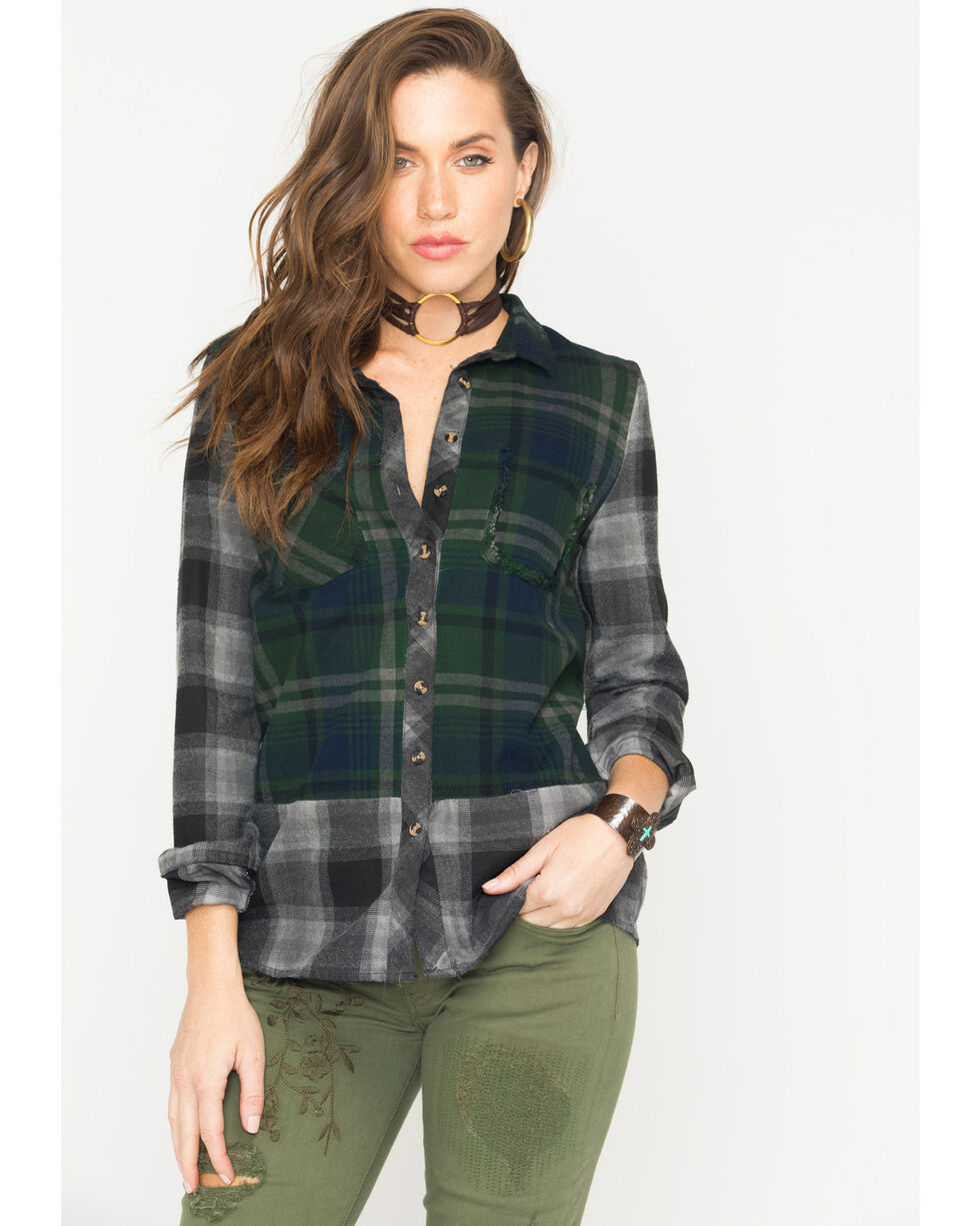 White Crow Women's Raven Plaid Shirt, Forest Green, hi-res