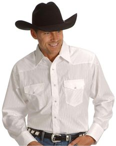 Wrangler Men's White Solid Dobby Long Sleeve Western Shirt - Big & Tall , White, hi-res