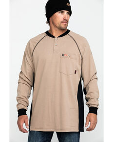 Cinch Men's FR Henley Long Sleeve Work T-Shirt , Beige/khaki, hi-res