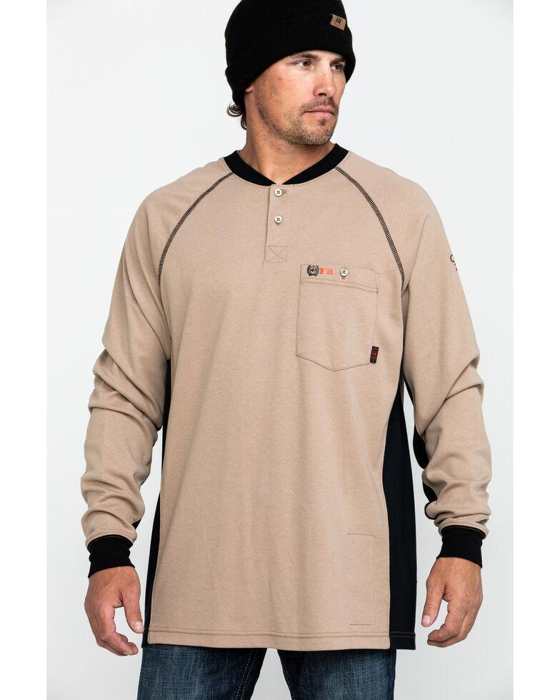 Cinch Men's FR Henley Long Sleeve Work T-Shirt , Beige/khaki, hi-res