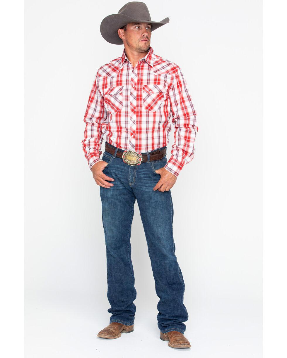 Wrangler Men's Med Plaid Long Sleeve Western Shirt , Red, hi-res