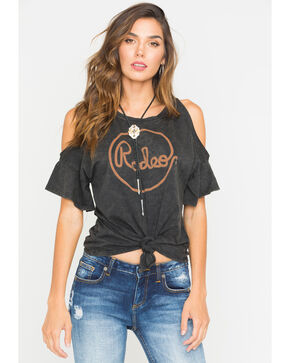 Rock & Roll Cowgirl Women's Rope Rodeo Graphic Tee, Charcoal, hi-res