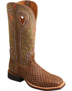 Twisted X Women's Basketweave Western Boots, Brown, hi-res