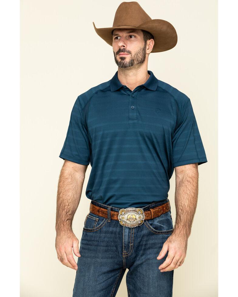 Ariat Men's Navy AC Short Sleeve Polo Shirt , Navy, hi-res