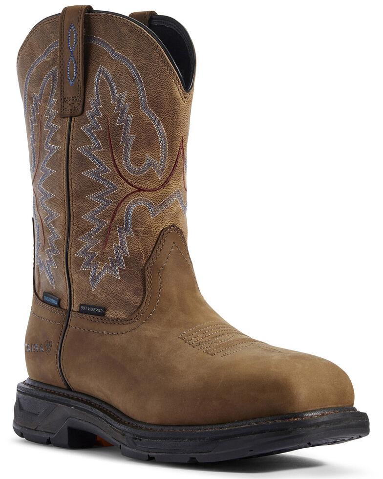 Ariat Men's Workhog XT Western Work Boots - Carbon Toe, Brown, hi-res