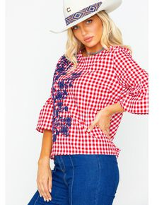 MI OH MI Women's Gingham Crew Neck Top , Red, hi-res