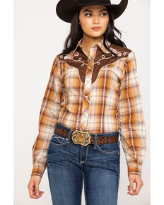 Roper Women's Horse Yoke Plaid Long Sleeve Western Shirt, Orange, hi-res