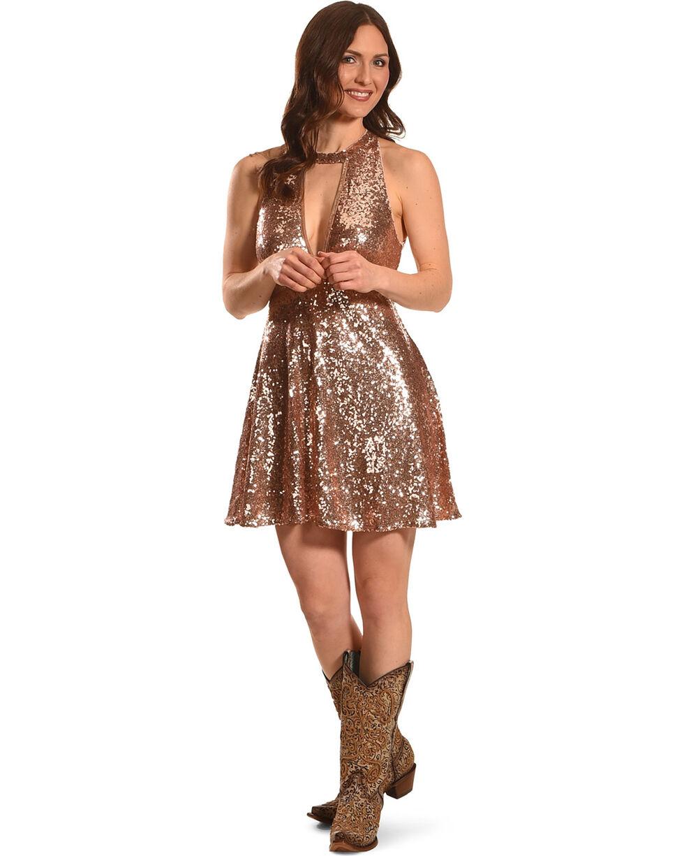 HYFVE Women's Rose Gold Sequin Choker Neckline Dress , Gold, hi-res