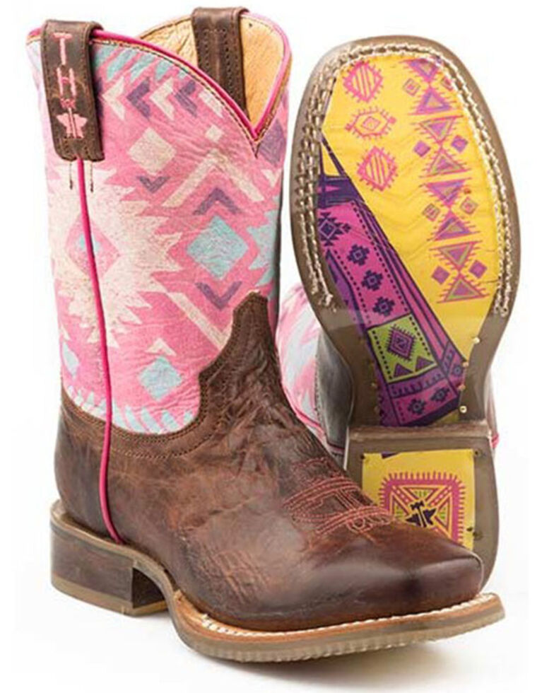 Tin Haul Girls' Pink Moon Western Boots - Square Toe, Brown, hi-res