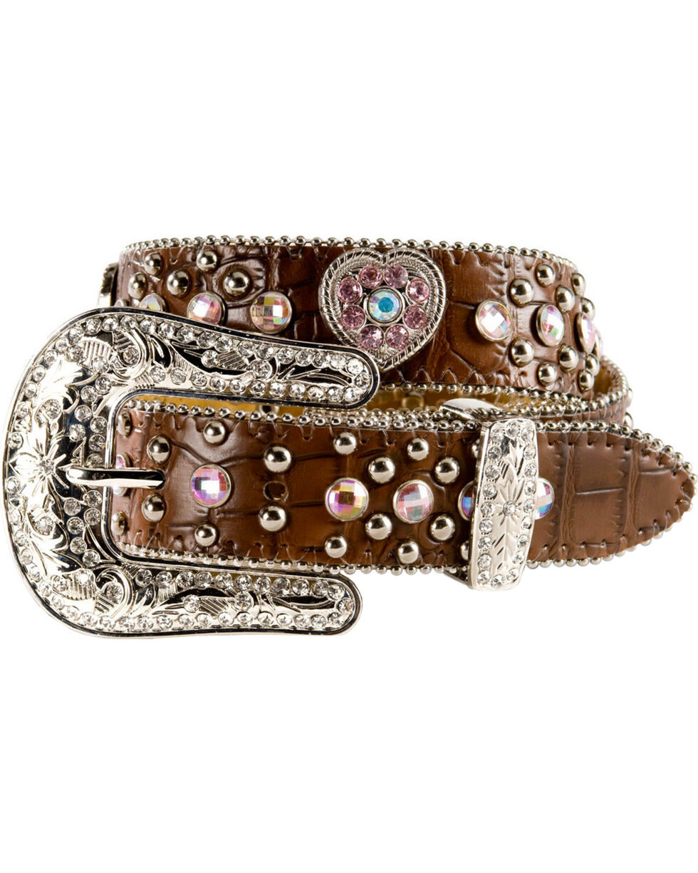 Nocona Girls' Croc Print Heart Belt, Brown, hi-res