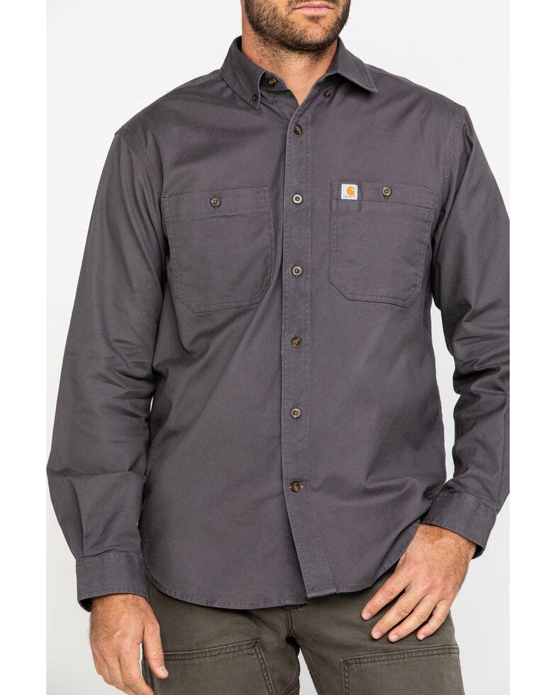 Carhartt Men's Rugged Flex Rigby Long Sleeve Work Shirt, Grey, hi-res