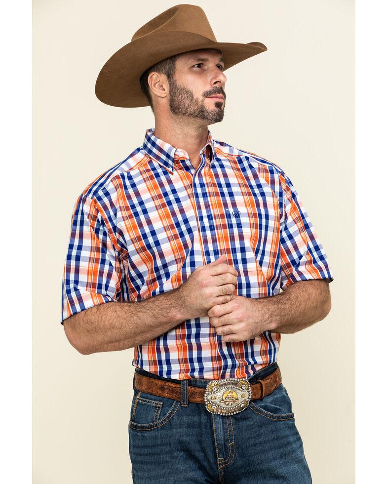 Ariat Men's Wrinkle Free Patrick Multi Plaid Short Sleeve Western Shirt , Blue, hi-res