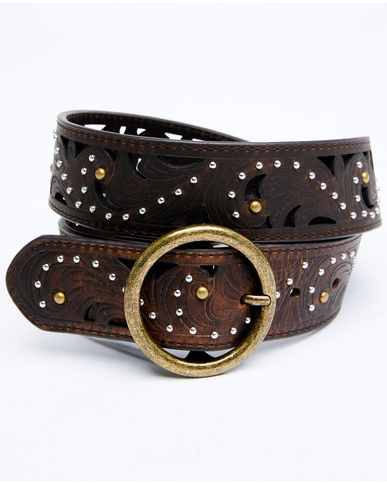 Shyanne Women's Brown Studded Round Buckle Belt, Brown, hi-res