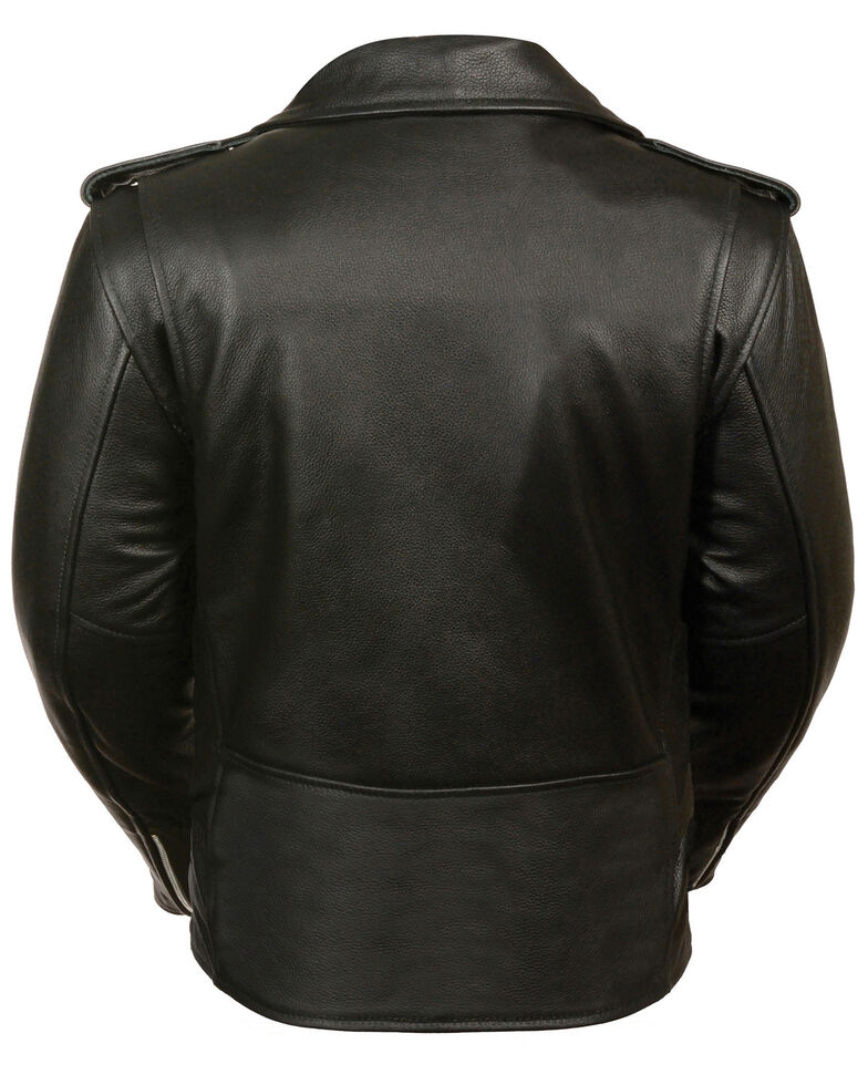 Milwaukee Leather Women's Full Length Traditional Leather Police Jacket - 3X, Black, hi-res